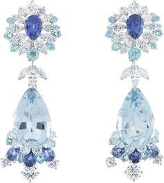 Fairytale earrings by Van Cleef & Arpels. Peau d'Âne collection with diamonds sapphires and tourmalines.