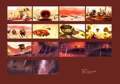Early Colorscript for Oh Shit! by Arnaud Tribout Color Script, Visual Development, Storyboard, Concept Art, Animation, Cartoon, Movie Posters, Short Shorts, Composition
