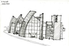 Richard Meier, Sketch for the Jubilee Church, Rome, Italy, 2003 https://www.facebook.com/Arquiclick
