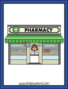 "Clip Art - Pharmacy: The file contains two images for the digraph ""pharmacy"" – one in color and the same one in black and white. Preschool Classroom Decor, Community Places, Life Skills Activities, Maths Solutions, School Clipart, English Activities, Easy Paper Crafts, Building For Kids, Home Schooling"