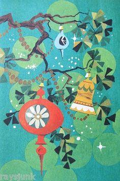 Vintage Christmas Card Retro Ornaments in Tree - Karen Kozlow California Artists