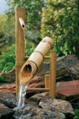 fontaines de bassin de jardin en bambou, nichoire oiseaux
