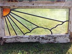Super Antique Sun Rays Art Stained Glass Window