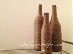 wine bottle centerpieces for wedding | DIY: Twine-Wrapped Wine Bottle Centerpieces Tutorial