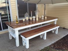 Beautiful Wooden Large Outdoor Table & Matching by TonkaTradingCo,