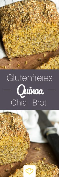 Glutenfreies Quinoa-Chia-Brot A power bread that tastes good to everyone. Because - this delicious quinoa chia bread is free of gluten, animal product Low Carb Recipes, Gluten Free Recipes, Vegan Recipes, Snack Recipes, Snacks, Bread Recipes, Cake Vegan, Vegan Bread, Law Carb
