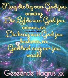 Goeie Nag, Good Night Greetings, Afrikaans Quotes, Sleep Tight, Morning Greeting, Neon Signs, Sweet Dreams