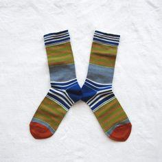 Chaussettes Bonne Maison / Bonne Maison socks - Bayadère Bleu Drapeau