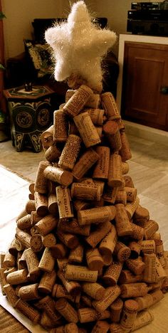 Wine Cork Christmas Tree by aRusticChristmas on Etsy, $40.00