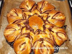 Cozonac floare cu Nutella Nutella, Apple Pie, Bread, Vegetables, Desserts, Recipes, Easter, Food, Cakes