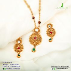 Gold 916 Premium Design Get in touch with us on Pendant Set, Gold Pendant, Pendant Jewelry, Gold Jewellery Design, Gold Jewelry, Simple Necklace, Gold Necklace, India Jewelry, Gold Style