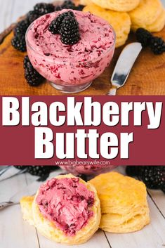 Blackberry Butter - Whip up this homemade blackberry butter to set on the breakfast table for the whole family to enjoy. Perfect on warm, fluffy biscuits, waffles, pancakes or french toast! Jam Recipes, Canning Recipes, Dessert Recipes, Martini Recipes, Cocktail Recipes, Flavored Butter, Homemade Butter, Burritos, Best Pancake Recipe
