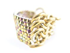 Fab piece!  Gold Chain Ring Gold Beaded Ring Beaded by JeannieRichard on Etsy, $70.00