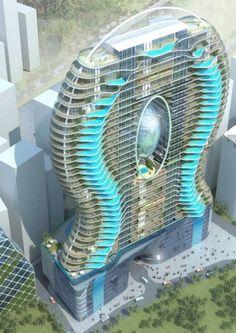 Aquaria Grande - проект отеля с бассейнами на балконах.
