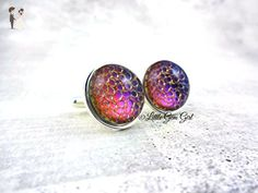 Stainless Steel Purple Pink Blue Color Changing Dragon Egg or Mermaid Scales Cuff Links 18mm Size Groom Wedding Cufflinks for Fantasy Fairy Tale Wedding - Groom fashion accessories (*Amazon Partner-Link)