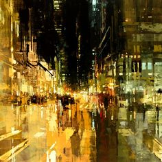 paisaje urbano Jeremy Mann (previously here and here) paints cityscapes set during the low-lit moments of the early morning or evening, just when natural light has begun to creep in or City Painting, Oil Painting Abstract, Painting Canvas, Painting Trees, City Art, Abstract City, Abstract Nature, Dawn And Dusk, Cityscape Art