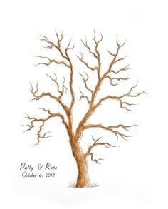 MEDIUM Wedding Guest Book Tree Family Tree 16 x 20 Customizable ORIGINAL watercolor PAINTING Thumbprint Tree up 125 guests
