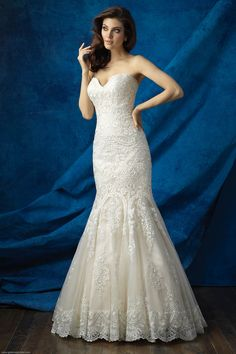 Wedding Dresses | Allure Bridals 9361 | Gateway Bridal & Prom | SLC | Utah | Fit & Flare | Lace | Mermaid Silhouette | Worldwide Shipping | Our signature classic designs are at their best when paired with gorgeous lace appliques.