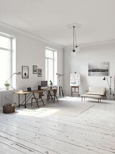 White Scandinavian workspace (3D) by Andrey Vladimirov