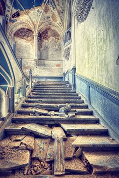 I can see a face at the top of the stairs!  Such a cool picture.  The Broken Stairway by kleiner hobbit, via Flickr. #ruins