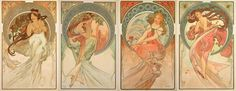 'The Arts' (series),1898; Produced at the height of Mucha's fame in 1898. All four Arts are framed by a decorative crescent opening onto a natural backdrop relating to a time of the day: for Dance falling leaves blown by a morning breeze, for Painting a flower lit by the midday sun, for Poetry the contemplation of the countryside as the evening star rises and for Music the song of the birds at moonrise.