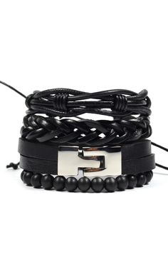 4 Pack Jet Leather Bracelet