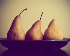 Three Pears -  8x10 Food Photograph Print - Pears dark blue bold yellow Vintage chef cook foodie summer fruit harvest bounty. $30.00, via Etsy.
