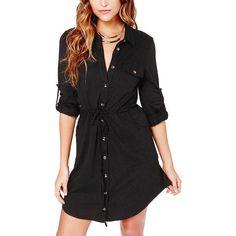 Yoins Black Long Sleeve Shirt Dress (34 AUD) ❤ liked on Polyvore featuring dresses, black, long dresses, black knit dress, shirt dress, long sleeve dresses and black collared dress