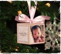 baby's first christmas ornament diy block