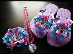 Frozen accessories and flip flops by bellecaps shop owner contact her at bellecaps.etsy.com