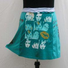 Aqua Skirt, plus size skirt, upcycled t shirt skirt, 1x 2x 3x skirt, aqua t skirt, blue skirt, aqua t skirt, eco friendly refashioned skirt by Rethreading on Etsy