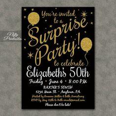 Sorpresa fiestas invitaciones invitaciones de por NiftyPrintables