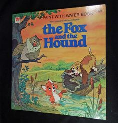 1981 oversize whitman disney fox and the hound paint with water book unused
