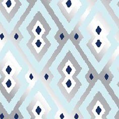 Jonathan Adler Wallpaper Syrie Silver & Blue