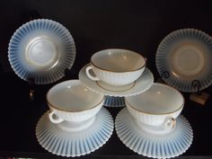 SET of 4  Antique Cream Soup Bowls/ by TheClassyGlassLassy on Etsy