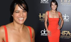 Michelle Rodriguez joins Vin Diesel to accept Hollywood Film Award for Furious 7 | Daily Mail Online