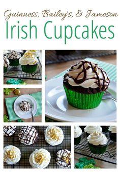 Guinness, Bailey's & Jameson Irish Cupcakes - chocolate stout cupcakes, Irish whiskey whipped cream, and an Irish cream chocolate ganache. Perfect for St. Patrick's Day!