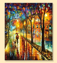 """Spaziergang mit meiner besten Freundin – Limited Edition bunten Stadtbild Print auf Leinwand von Leonid Afremov. Größe: 30 """"X 36"""" Zoll (75 cm x 90 cm)"""
