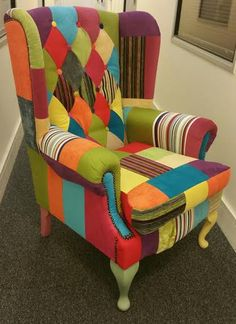 Stunning Patchwork Wing back chair by CraftyPatchworkMargo on Etsy