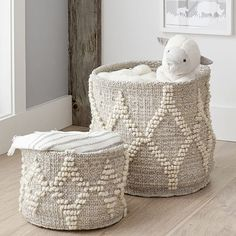 Sized for storing toys, books or swaddles, these soft-sided, metallic-laced baskets help keep bedrooms and playrooms organized. Each is handwoven in India and brought to you in collaboration with Pottery Barn Kids. KEY DETAILS 35% jute, 30% cotton, 20% wool and 15% lurex. Handwoven. Sold separately. BPA-, phthalate- and lead-free. Made in India.-white/white-gp Jute, Changing Table Storage, Changing Tables, Playroom Organization, Playroom Ideas, Pottery Barn Kids, Pottery Barn Nursery, Woodsy Nursery, Boho Nursery