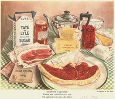 Ration for 2 people/week WW2 spam, dry powdered milk, dry or canned eggs, beef suet.... butter sugar sandwich was a sweet treat 1940's