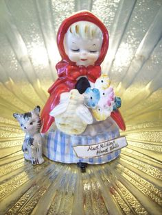 RARE Vintage Little Red Riding Hood Wolf Girl Bell Figurine ABSOLUTELY DARLING!