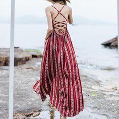 Boho Backless Maxi Dress With Split – 🌸 BOHO JOY 🌸