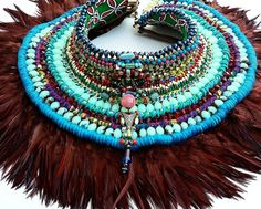Our feather neckpiece from our SS16 #tribevibe collection exhibited at #WION Dubai