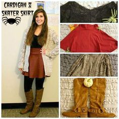 Fall Fashion - Cardigan and skater skirt outfit