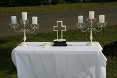 "Unity Cross: For those who want their wedding to reflect their faith. Here's the bride's description: ""This is the unity cross that we put together at our wedding ceremony.  We decided not to do a unity candle, but put together a unity cross.  It was so symbolic of Christ being the head of our marriage and the two of us coming together as one."""