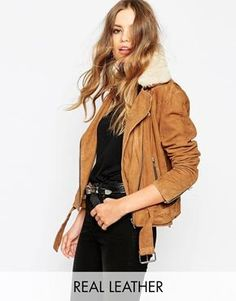 HIDE Rita Side Zip Biker Jacket With Shearling Collar and Chunky Belt