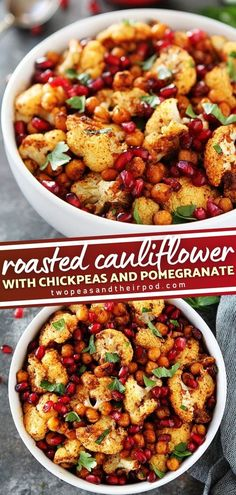 Roasted Cauliflower with Chickpeas and Pomegranate