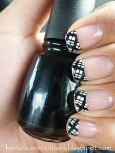 plaid french tip manicure