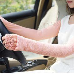 LYZA Women Summer Anti-UV Long-sleeved Lace Gloves Sexy Fingerless Sunscreen Beach Driving Gloves